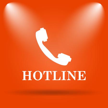 hotline: Hotline icon. Internet button on orange background.