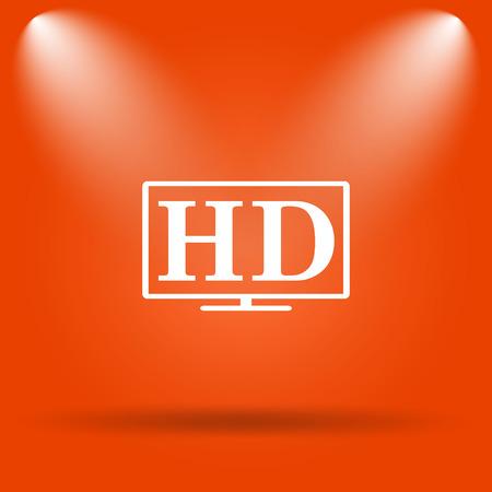hd tv: HD TV icon. Internet button on orange background. Stock Photo