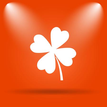 clover button: Clover icon. Internet button on orange background.