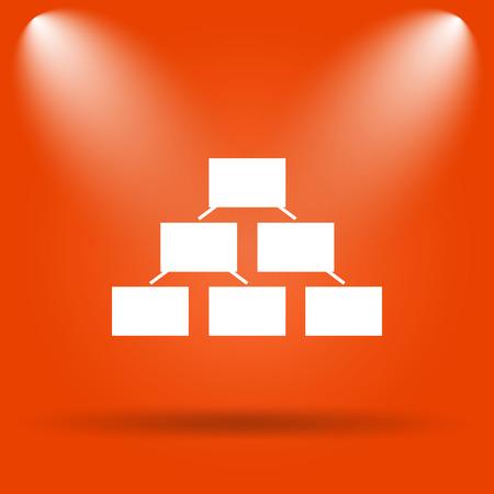 layers levels: Organizational chart icon. Internet button on orange background.