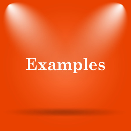 examples: Examples icon. Internet button on orange background.