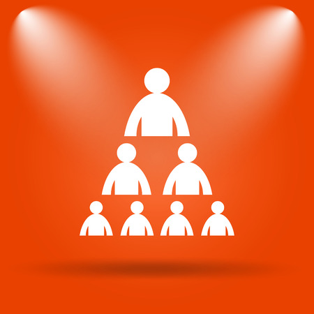 layers levels: Organizational chart with people icon. Internet button on orange background. Stock Photo