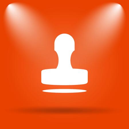 qualify: Stamp icon. Internet button on orange background. Stock Photo