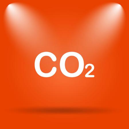 co2: CO2 icon. Internet button on orange background.