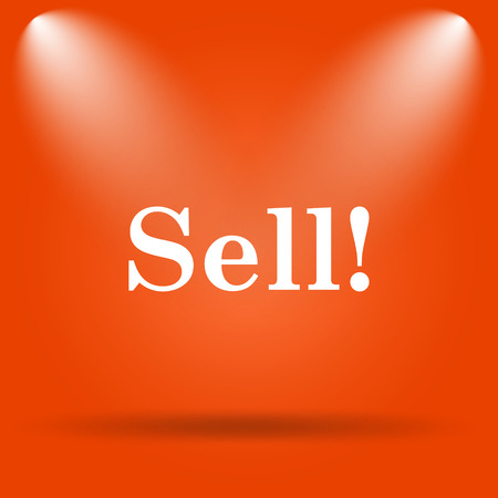 to sell: Sell icon. Internet button on orange background. Stock Photo