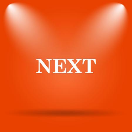 background next: Next icon. Internet button on orange background.