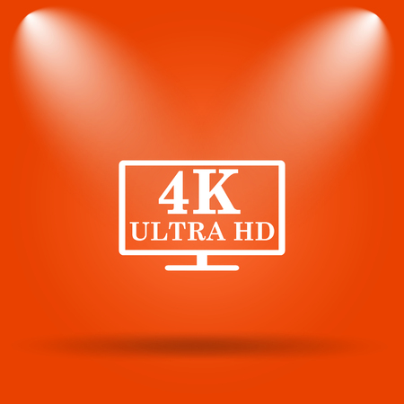ultra: 4K ultra HD icon. Internet button on orange background.