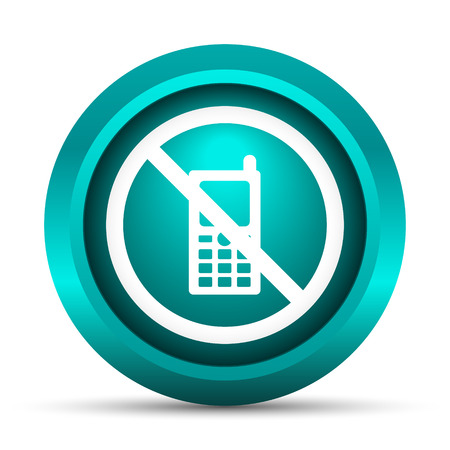 telephony: Mobile phone restricted icon. Internet button on white background.