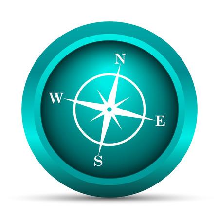 button icon: Compass icon. Internet button on white background.