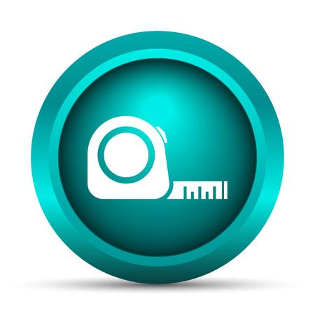cintas metricas: Icono de la cinta m�trica. Bot�n de internet sobre fondo blanco. Foto de archivo