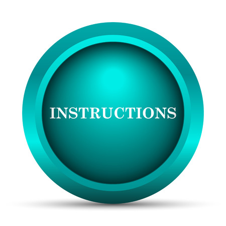 instructional: Instructions icon. Internet button on white background.