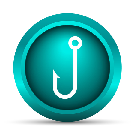 allure: Fish hook icon. Internet button on white background.