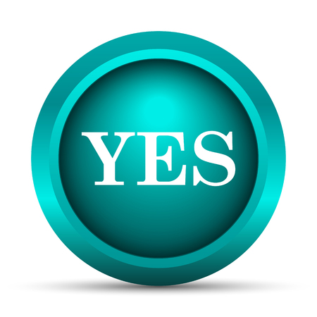 yes icon: Yes icon. Internet button on white background.