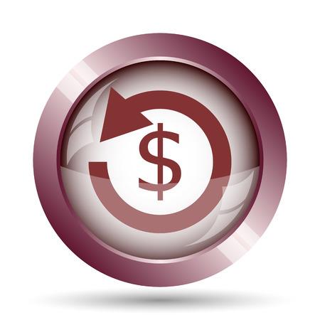 refund: Refund icon. Internet button on white background.