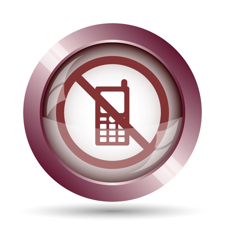 use regulations: Mobile phone restricted icon. Internet button on white background.