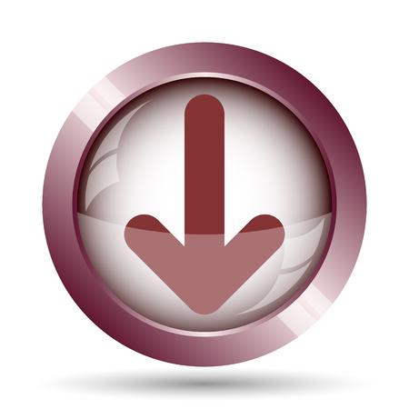 moving site: Down arrow icon. Internet button on white background.