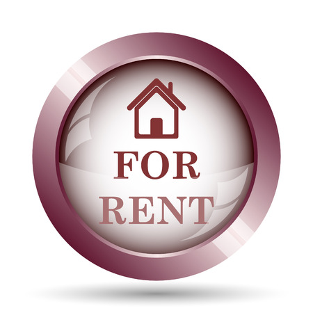 rent: For rent icon. Internet button on white background. Stock Photo