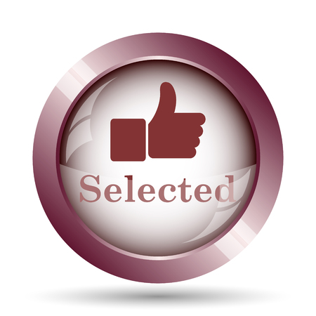 selected: Selected icon. Internet button on white background. Stock Photo