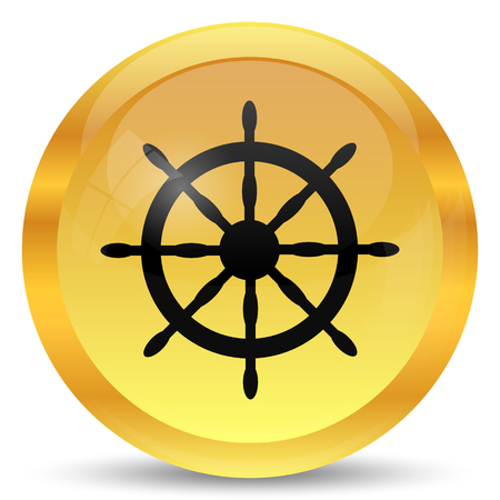 dockyard: Nautical wheel icon. Internet button on white background.