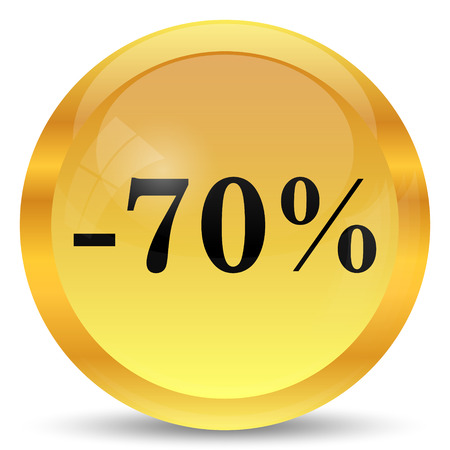 70: 70 percent discount icon. Internet button on white background.