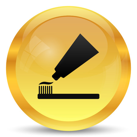 cleanliness: Tooth paste and brush icon. Internet button on white background.