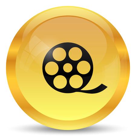 golden symbols: Video icon. Internet button on white background.