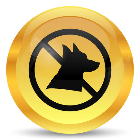 golden rule: Forbidden dogs icon. Internet button on white background. Stock Photo