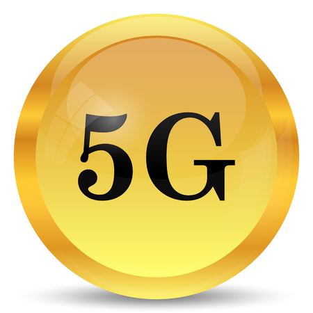 3g: 5G icon. Internet button on white background. Stock Photo