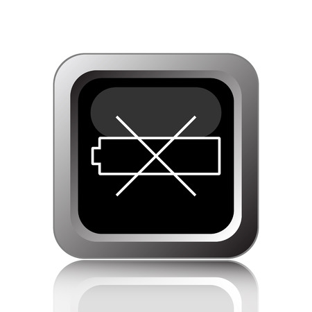 Empty battery icon. Internet button on white background.