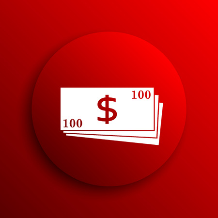 pay check: Money icon. Internet button on white background.