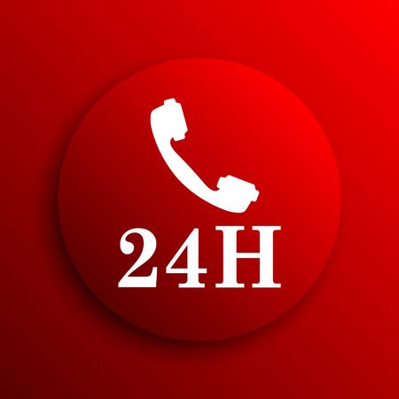 around the clock: 24H phone icon. Internet button on white background.