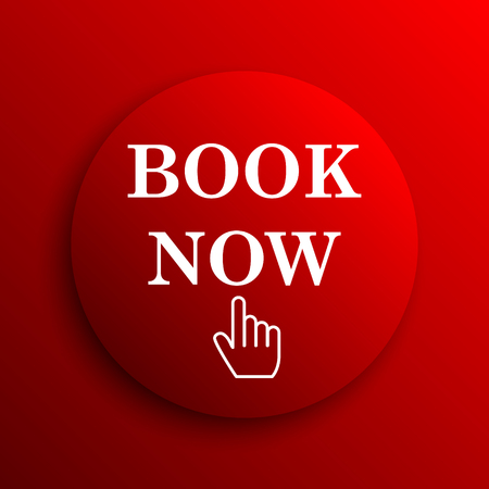 purchase book: Book now icon. Internet button on white background. Stock Photo