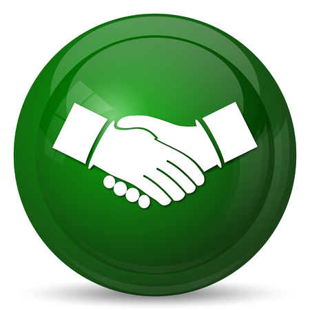 business teamwork: Agreement icon. Internet button on white background. Stock Photo