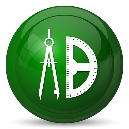 green button: Compass and protractor icon. Internet button on white background. Stock Photo