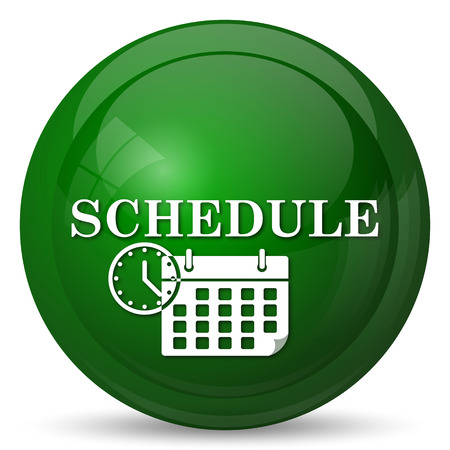 schedule: Schedule icon. Internet button on white background.