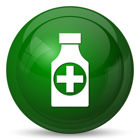 prescription bottles: Pills bottle  icon. Internet button on white background. Stock Photo