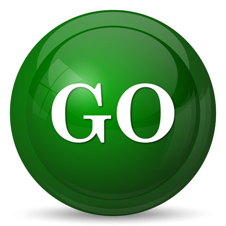proceed: GO icon. Internet button on white background. Stock Photo