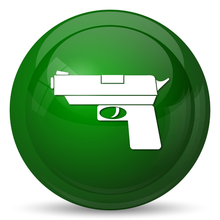violence in sports: Gun icon. Internet button on white background.