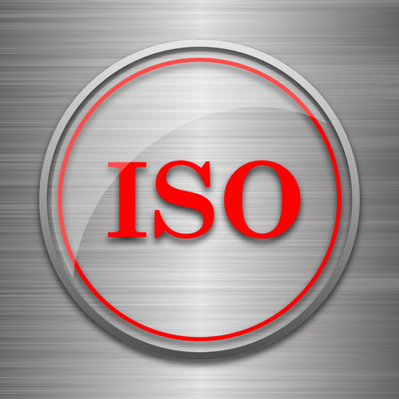 norm: ISO icon. Internet button on metallic background.