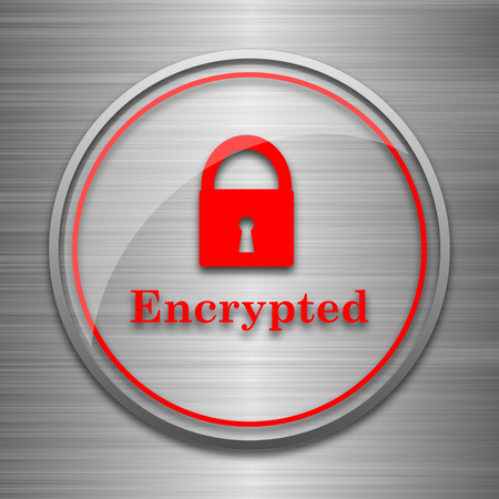encrypted: Encrypted icon. Internet button on metallic background.