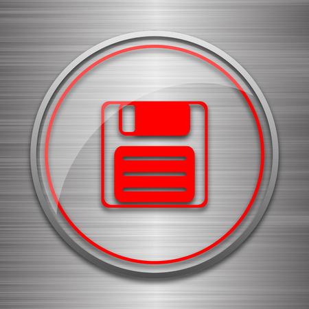 metallic: Save icon. Internet button on metallic background.
