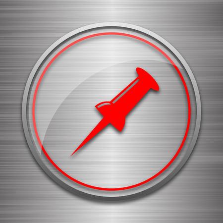fixation: Pin icon. Internet button on metallic background.