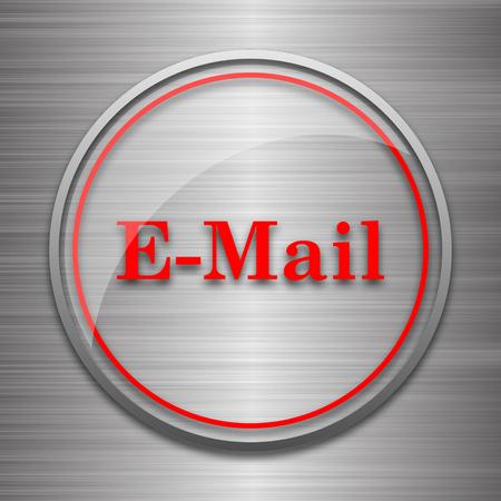 E-mail icon. Internet button on metallic background.
