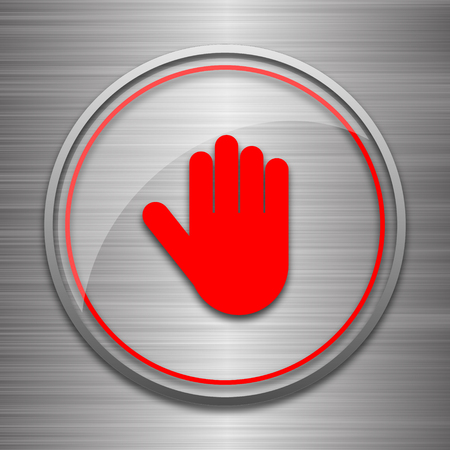 restrictive: Stop icon. Internet button on metallic background. Stock Photo