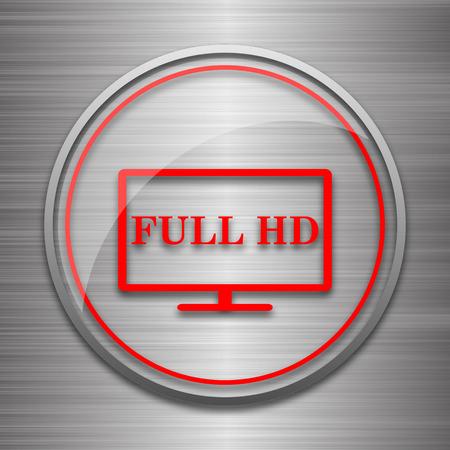 full hd: Full HD icon. Internet button on metallic background.