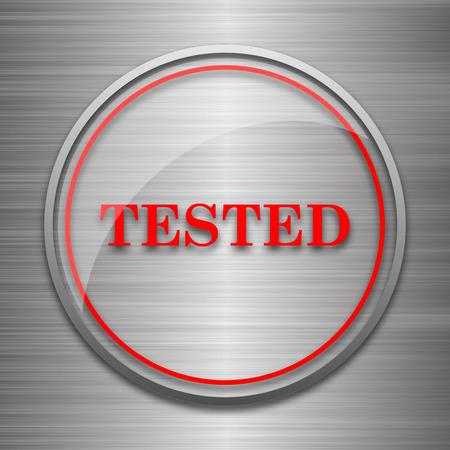 metallic: Tested icon. Internet button on metallic background.