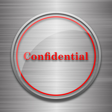 secrecy: Confidential icon. Internet button on metallic background.
