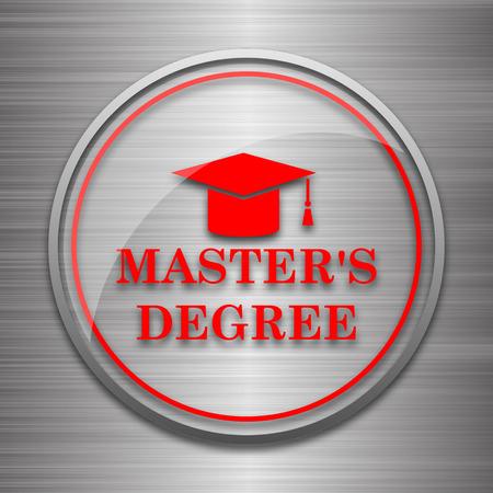 masters: Masters degree icon. Internet button on metallic background.