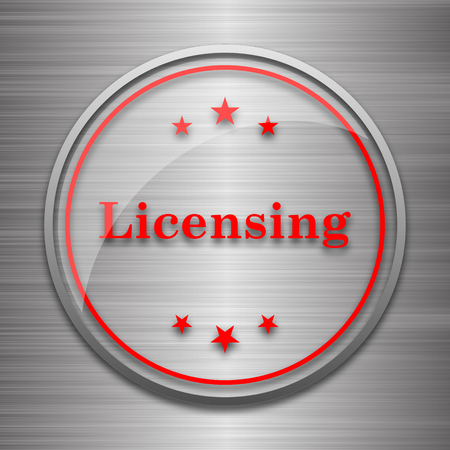 licensing: Licensing icon. Internet button on metallic background.