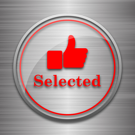 selected: Selected icon. Internet button on metallic background.